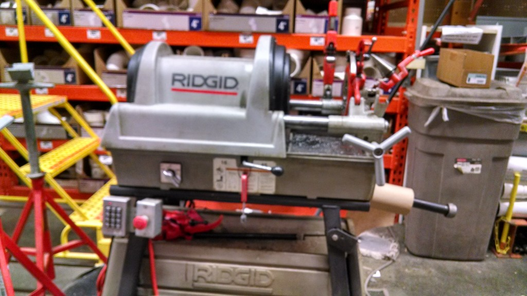 A machine for pipe threading, Home Depot.